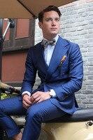 2018 Custom New Navy Blue Men Suit Groom Wedding Suits Prom Blazer Slim Fit 2 Piece Jacket Pant Groom Tuxedo Terno Masculino 007