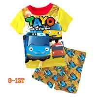 ขายส่งเด็กทารกสีเหลือง Little Bus ชุดนอนชุด 2018 เด็กการ์ตูน Pijama Infantil ชุดนอนฤดูร้อนชุดสำหรับ 3-7Y 8-12Y