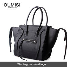 Oumisi fashion brand design 2015 classic luxury smiley package, khaki color Tote bag phantom style smile embarrassed bags BL