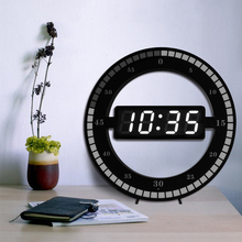Round Digital LED Wall Clock with Light Sensor Jump Seconds Design Use 5V USB Adapter and free Desk Stand for Tabletop Placement