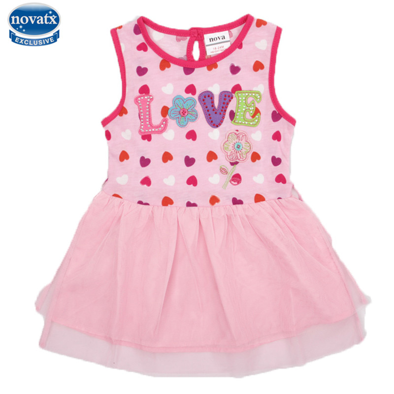 novatx H4053 new 2017 kids baby girl dress sleeveless floral princess frocks children clothes fashon hot girls clothing dress novatx brand children clothes sleeveless cotton clothing girls party dress baby girl princess dresses 2017 new arrival