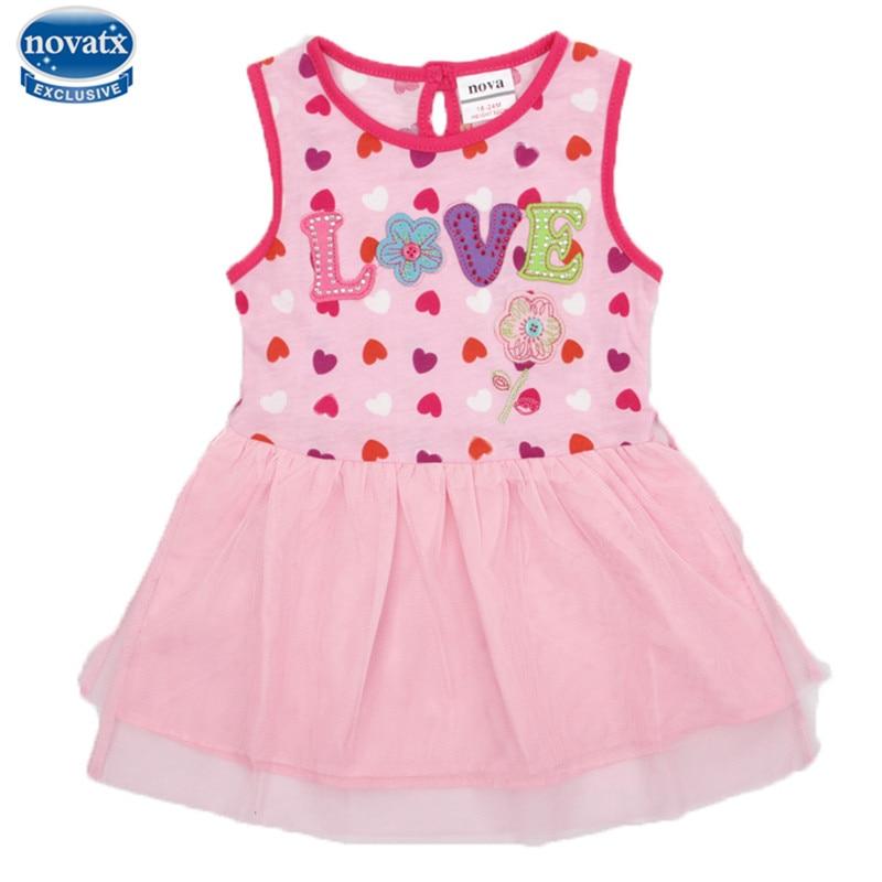 novatx H4053 new 2017 kids baby girl dress sleeveless floral princess frocks children clothes fashon hot girls clothing dress