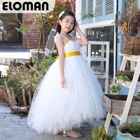 Eloman white flower girl tutu dress for wedding and event handmade long dresses for girls birthday party to be angel princess