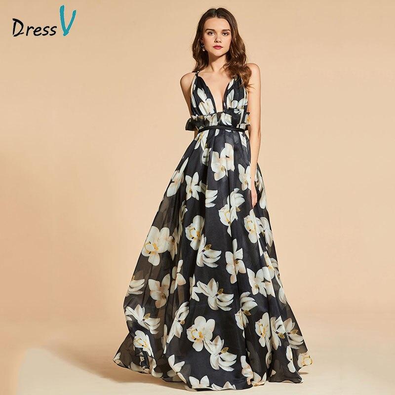Dressv Printing Evening Dress A Line Elegant Spaghetti Straps Floor-length Wedding Party Formal Dress Evening Dresses