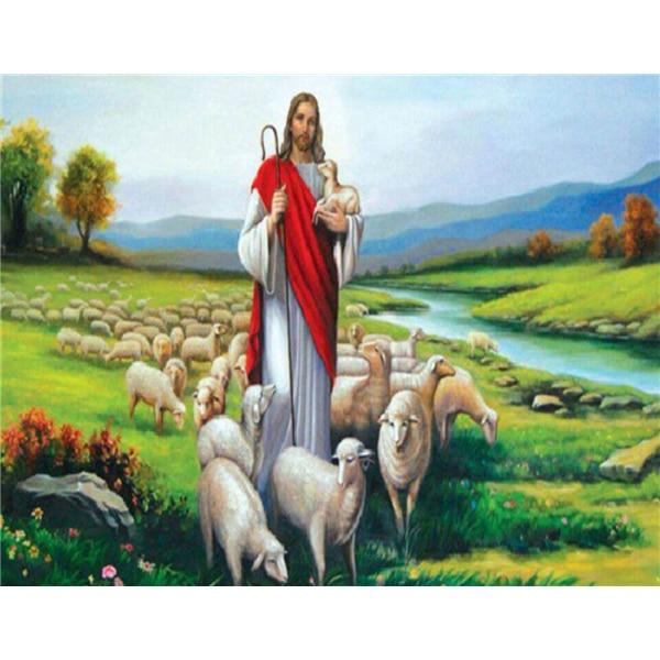 2016 hot sale Characters Jesus shepherd needlework Diamond Painting Cross Stitch Rhinestone Square drill Diamond Embroidery k319