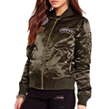Winter embroidered army green bomber jacket Women basic coats padded biker military baseball jackets female plus size