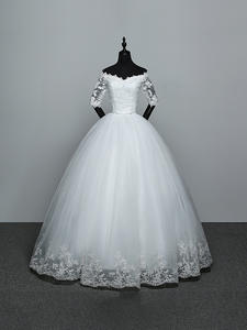 Wedding-Dress Princess Embroidery Lace New-Arrival Boat Neck No Flowers Gelinlik Vestidos-De-Novia