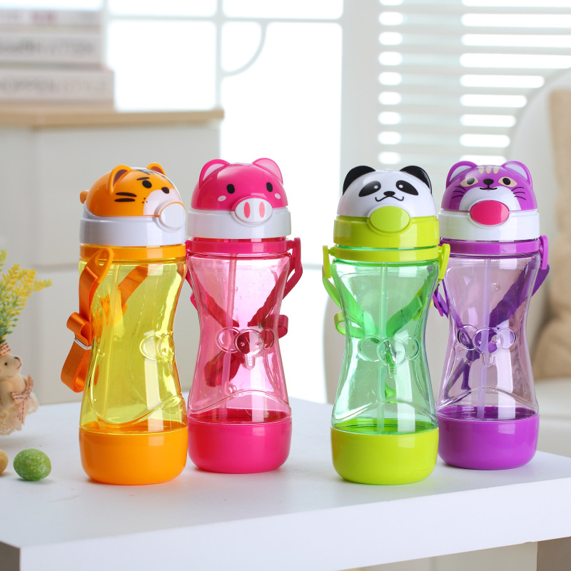 450ML Animal Plastic Straw Portable Children Water Bottle Kids Leak-Proof Shaker Fashion Sport Eco-friendly Drink Bottle Gift