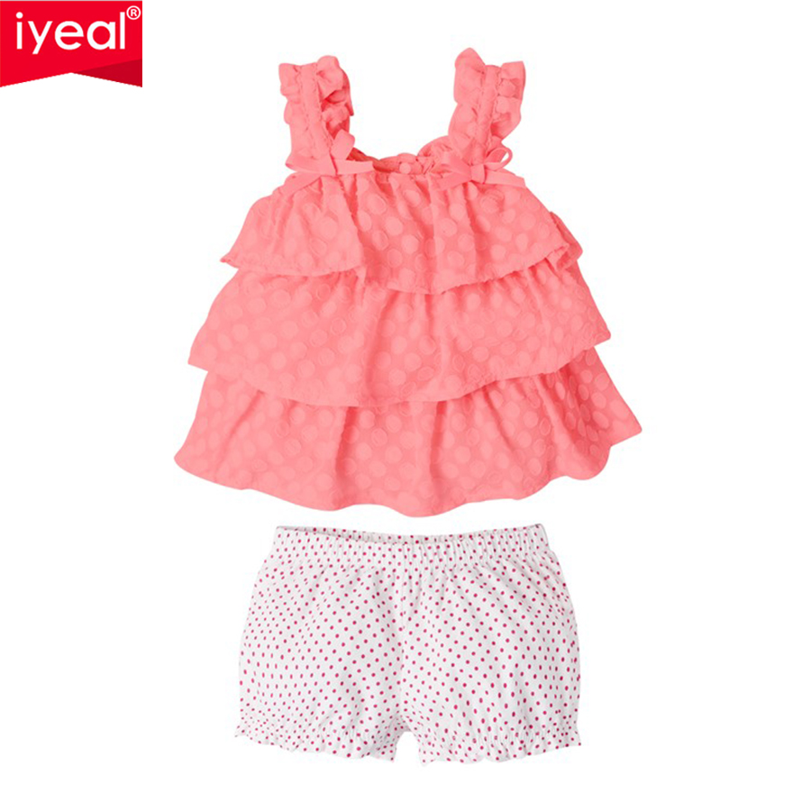 IYEAL 2017 Newborn Cotton Sets Baby Girl Clothes Infant Girls Tiered T-shirt + Bloomers  Summer Kids Clothing for 3-24 Months
