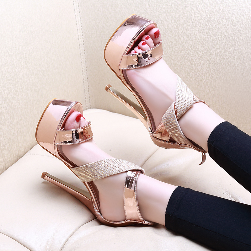 Sexy Rhinestone Sandals Women Fashion Patent Leather Stiletto Super High Heels NIUFUNI 2019 Waterproof Platform Ladies Shoes in High Heels from Shoes