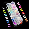 High Quality 60PCS  12 colors Trendy 3D Glitters Bow Tie  Rhinestone Nail Art Stickers Tips DIY   Decorations 5VXV 7H1I