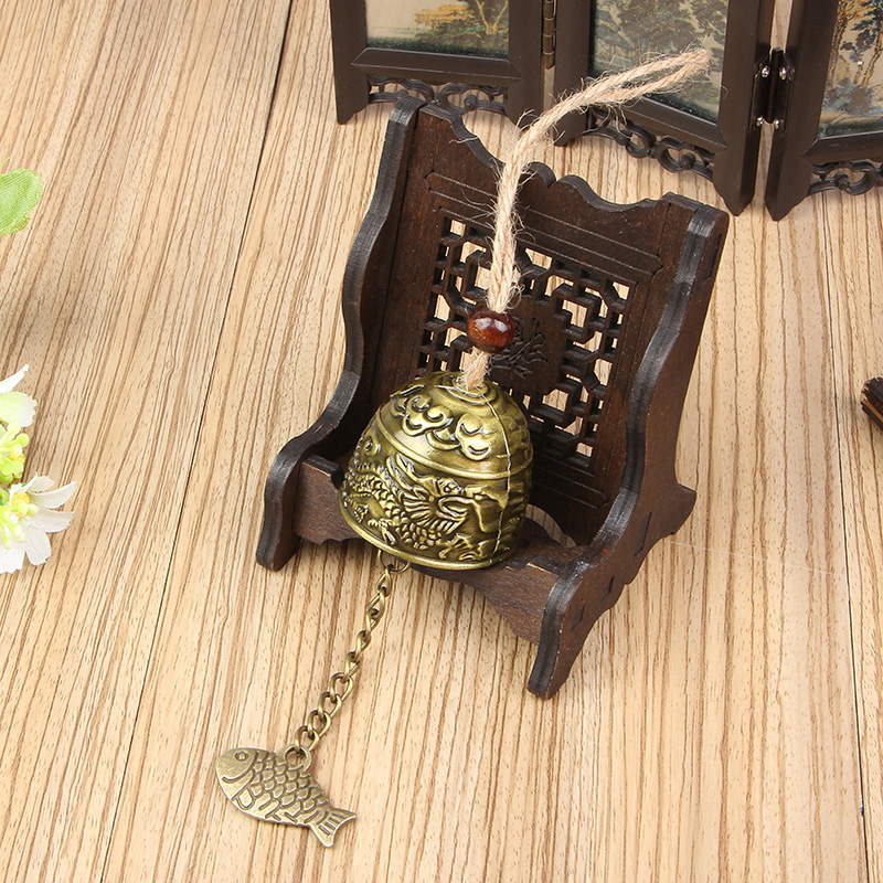 Creative Alloy Fish Dragon Wind Chimes Hemp Rope Feng Shui Craft Ornaments Home Decoraction Accessories Office Desktop Figurines in Figurines Miniatures from Home Garden