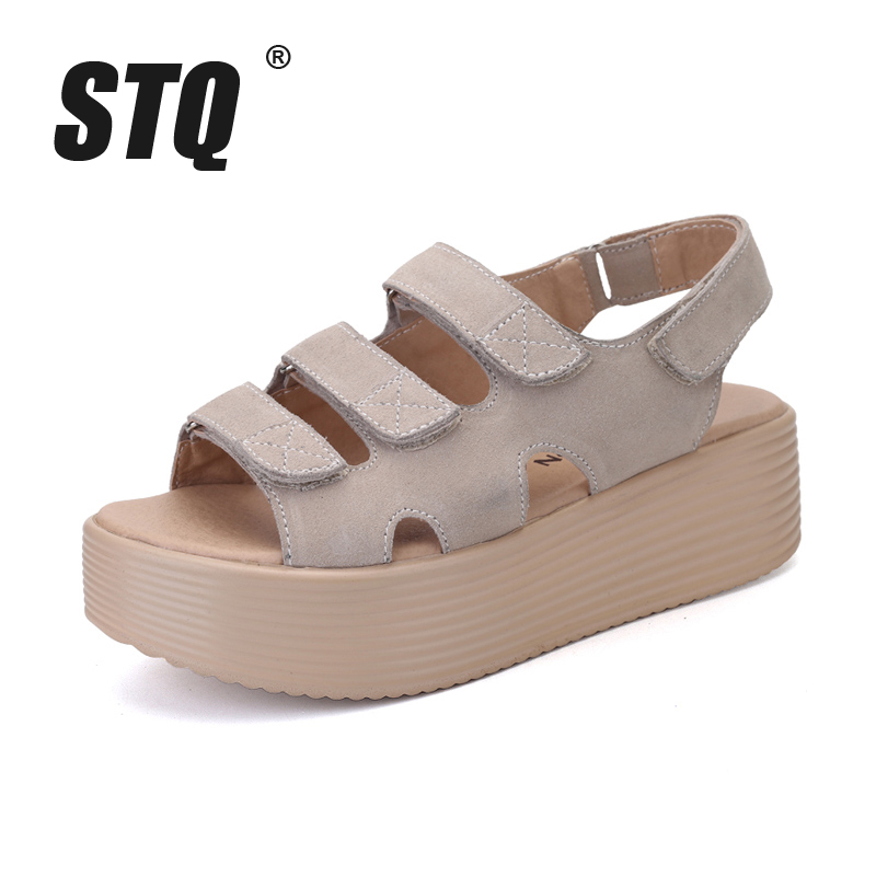 2c2901569aef2 STQ 2017 women sandals suede leather wedges thick heel flat sandals  gladiator sandals ladies original platform sandals 188-in Women s Sandals  from Shoes on ...