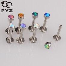 G23 Titanium Gemengde 8 Kleuren Opal Inwendige Schroefdraad Labret 16g Lip Piercing Oorkraakbeen Helix Tragus Stud Body Sieraden