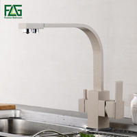 FLG Black Square Kitchen Faucet For Kitchen Brass 360 Degree Rotation Faucets Filter Water Mixer Tap