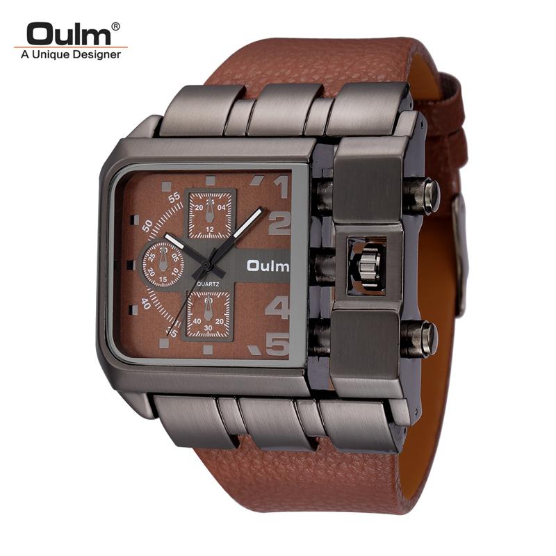 Prix pour Hommes de Montres De Luxe Conception Oulm Quartz Montre Hommes Cadran Carré Bracelet En Cuir Mâle Militaire Antique Horloge erkek saat