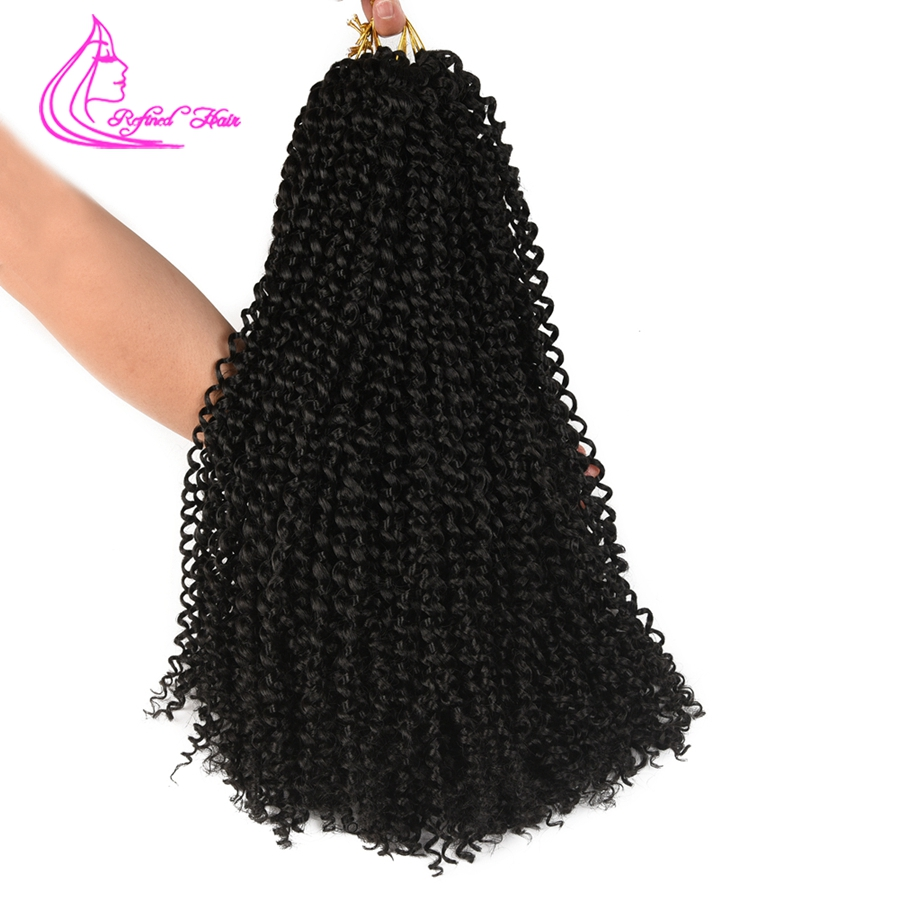 Refined Hair 18inch Long Passion Twist Crochet Hair Extensions Synthetic Pre-Looped Fluffy Crochet Hair Braids For Twist 22roots image