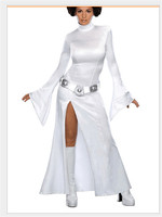 STAR WARS Cosplay Alderaan Princess Leia Organa Solo Costume Adult Cosplay White Long Dresses Halloween Carnival Cosplay
