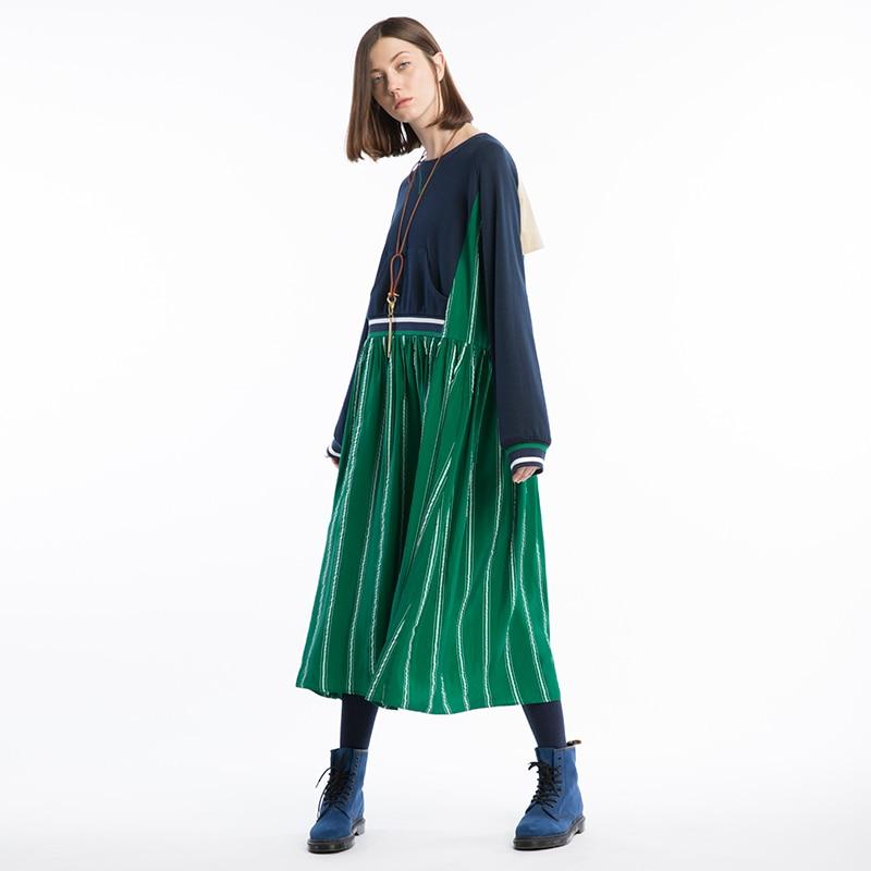Occasionnel Femmes Conception Patchwork Robe À Nouveautés 2018 Ligne Multi Cou Originale Manches Longue Une O Cupro Longues Lâche Rayé AwOxT