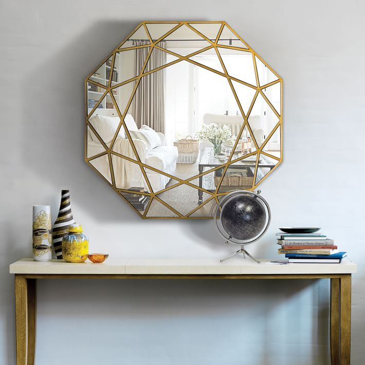 Modern Round Mirror Glass Console Mirror Geometric Wall Mirror