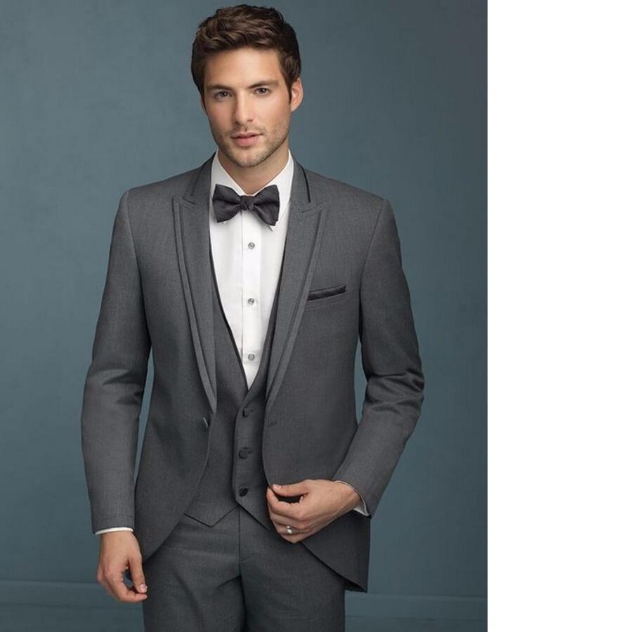 Серый Жених Смокинги для женихов дружки костюм итальянский Стиль из трех частей Свадьба Пром Костюмы для Для мужчин Жених костюм