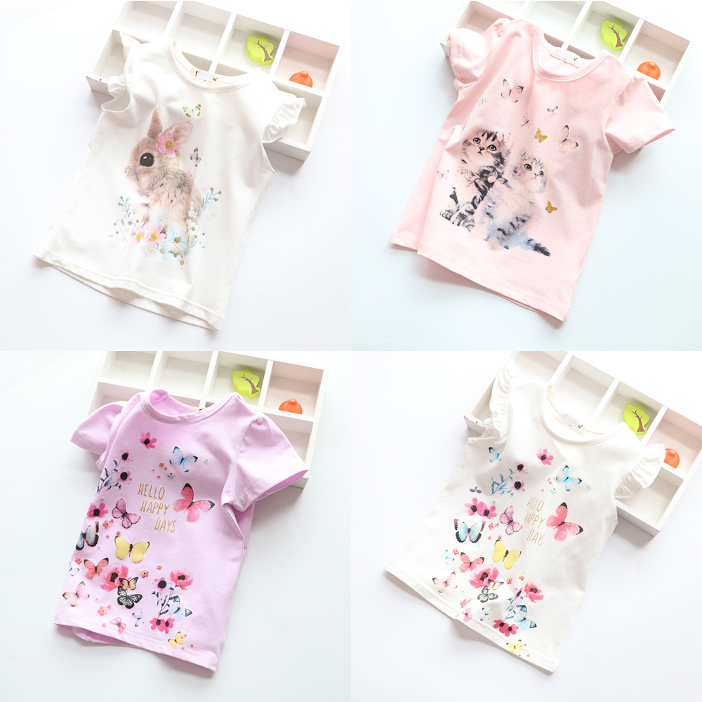 New Cotton Kids T-Shirt Children Summer Short Sleeve T-Shirts for Girls Clothes Cat Rabit Butterfly Baby T Shirt Toddler Tops цена и фото
