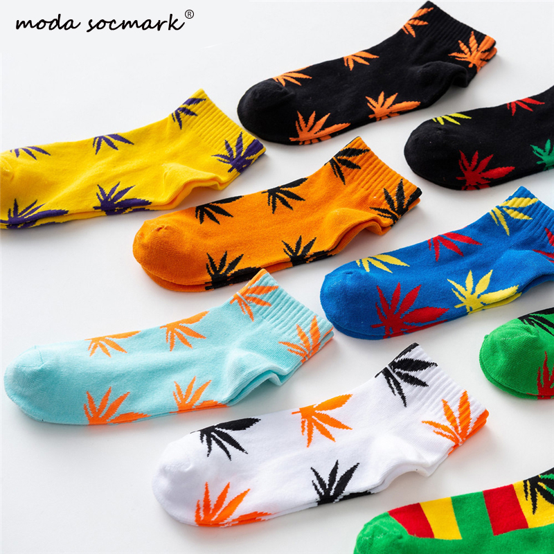 Moda Socmark Summer Women Men's Funny Ankle Socks Hemp Meias Long Happy Maple Leaf Sokken Cotton Weed Grass White Black Socken