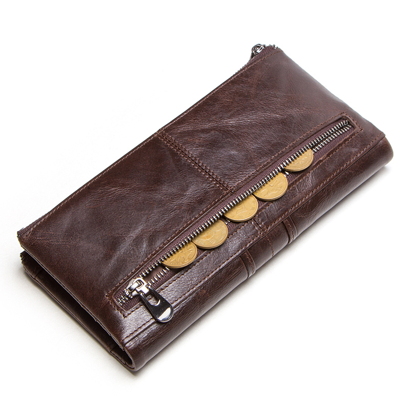 CONTACT'S men clutch hot sale genuine leather long wallet male coin purse zipper money bag for iphone8 portemonnee men's walet 1