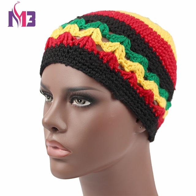 f57f791a575 2017 Winter Women Men Knitted Rasta Hat Warm Handmade Crochet Hat Jamaica  Style Beanie Caps Bob