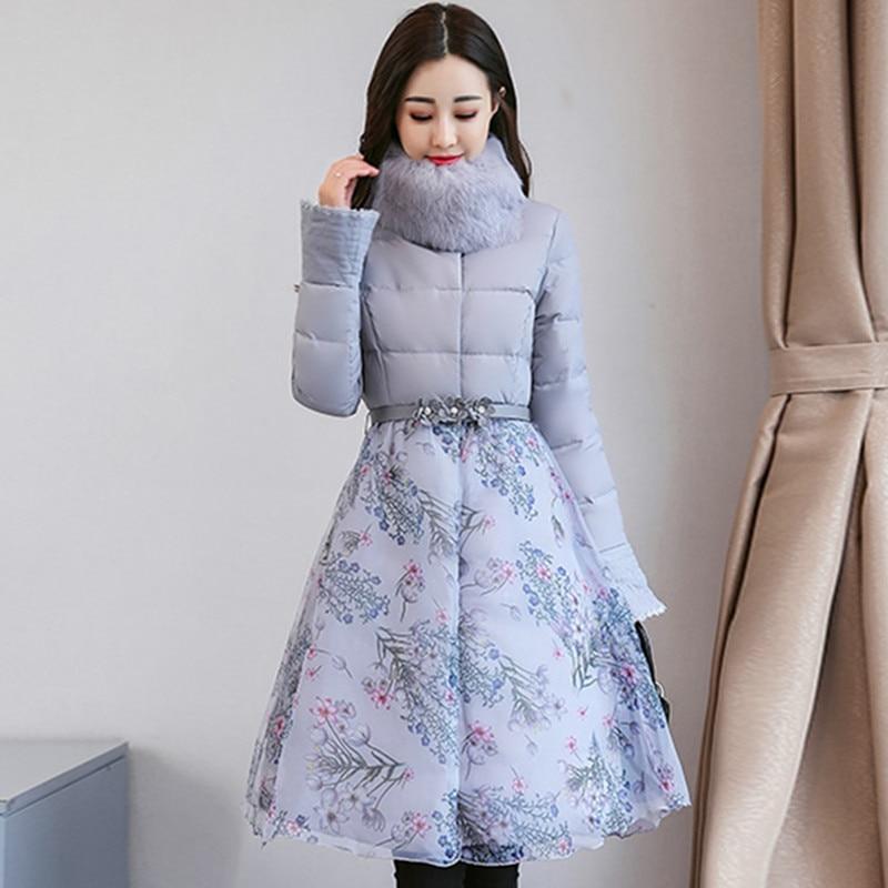 Femmes Manteau Chaud Femme Col rembourré Un white A417 Slim Gray D'hiver Coton Type Moyen Haut Longueur Épais Veste Mode 2018 De purple Fit Vêtements xUFAqwTO