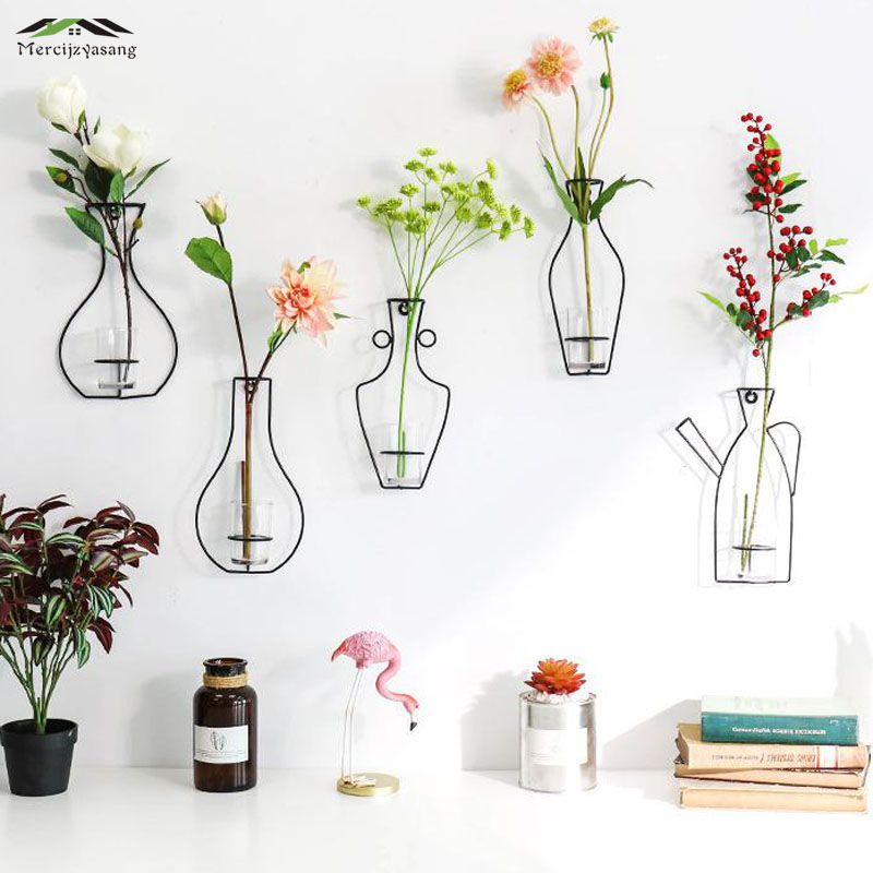 Flowers Vases Nordic Wall Metal Vase Plant Dried Floral Holder Black Line Wrought Iron For Home Wedding Corridor Decoration G054 Vases Aliexpress