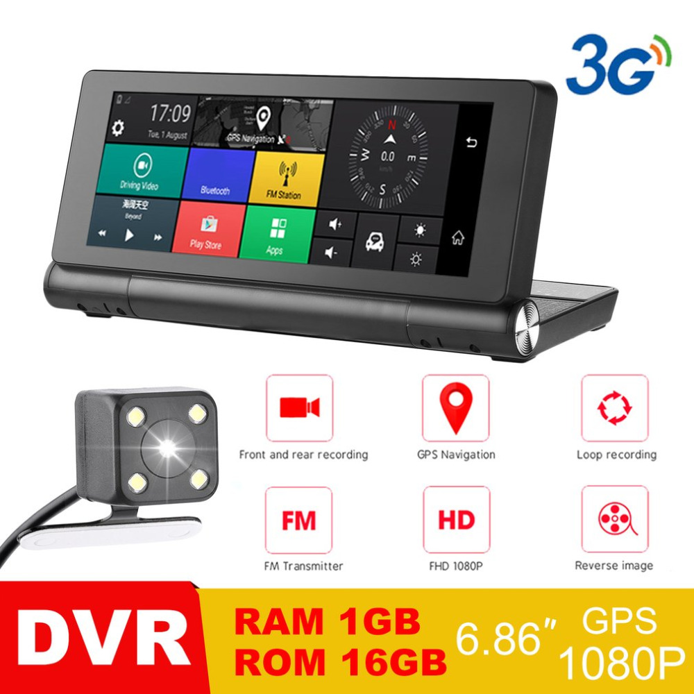 Smart HD Car DVR Camera 3G Android 5.0 GPS Bluetooth Dash Cam Registrar 1080P Video Recorder with Dual Cameras dual dash camera car dvr with gps car dvrs car camera dvr video recorder dash cam dashboard full hd 720p portable recorder dvrs