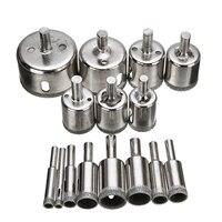 15pcs 다이아몬드 코팅 드릴 비트 세트 타일 대리석 유리 세라믹 구멍 톱 드릴링 비트 전원 도구 6mm-50mm