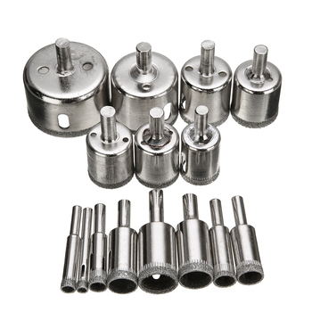 15pcs Diamond Coated Drill Bit Set Tile Marble Glass Ceramic Hole Saw Drilling Bits For Power Tools 6mm-50mm 6mm to 50mm diamond coated drill drills bit hole saw core marble glass granite tools 15pcs drilling power tool