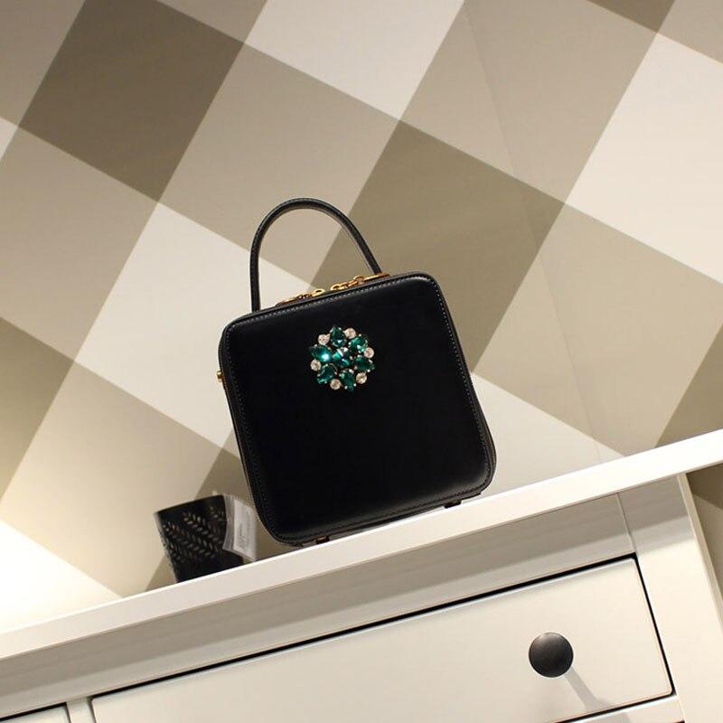 Sac carré en cuir de bovin pour femme 2019 rétro mode femmes diamants noirs sac à main sac à bandoulière unique mini sac c381 - 5