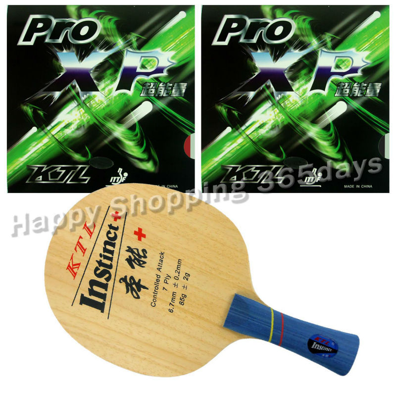 Pro Table Tennis PingPong Combo Racket KTL Instinct+ Shakehand Blade with 2x Pro XP Rubbers Long Shakehand FL lkt will power l 1007 arylate carbon table tennis blade shakehand for pingpong racket shakehand long handle fl