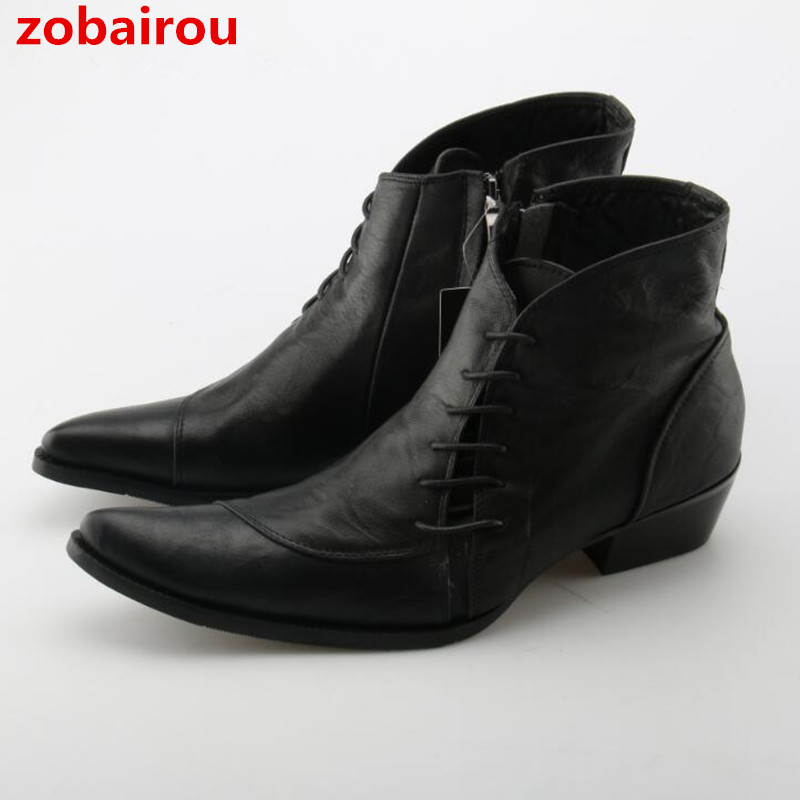 Zobairou Mens Shoes Large Sizes Cowboy Boots Autumn Winter Military Boots Pointed Toe Fashion Ankle Boots Genuine Leather Shoes fashion pointed toe lace up mens shoes western cowboy boots big yards 46 metal decoration page 8