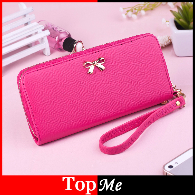 Women Wallets Cards ID Holder PU Leather Brand Design Bow Lady Purses Handbags Clutch Money Bags Zipper Coin Purse Female Wallet candy colors lady envelope purses long clutch women zipper wallets change coin purse good quality money bags cards holder wallet
