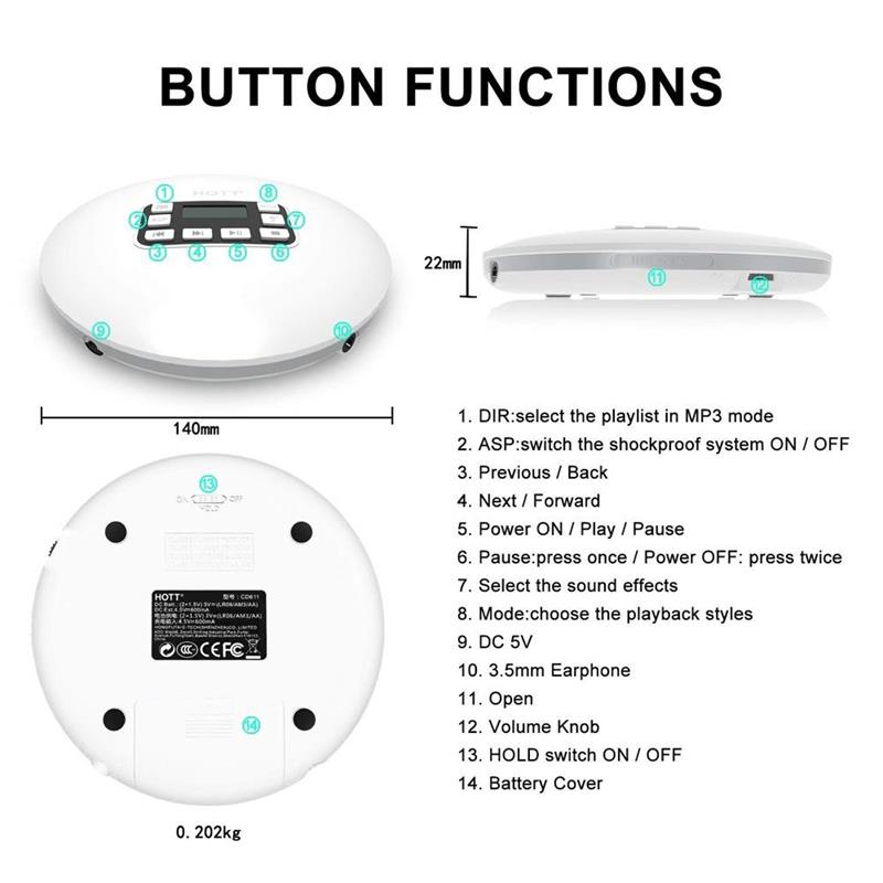 CD Player, HOTT Portable CD Player Support CD-R/CD-RW/MP3, with LCD  Display, Electronic Skip Protection Shockproof Anti Scratch