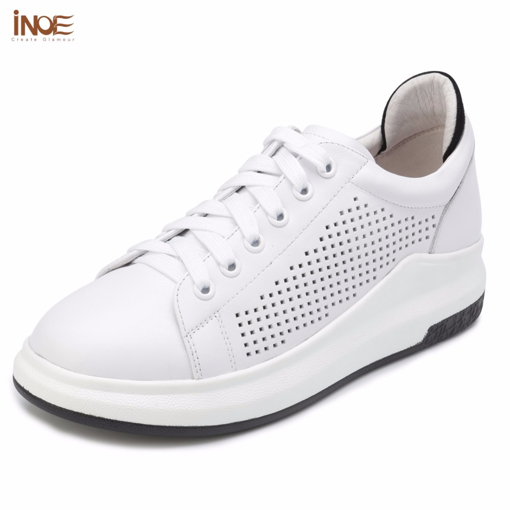 ФОТО INOE 2017 new fashion style genuine cow leather lace up women summer shoes casual flats white black rubber sole high quality