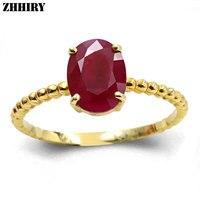 ZHHIRY женское Настоящее 18 К Золотое кольцо из природного рубина дамские драгоценные камни желтое золото обручальные кольца с сертификатом юв