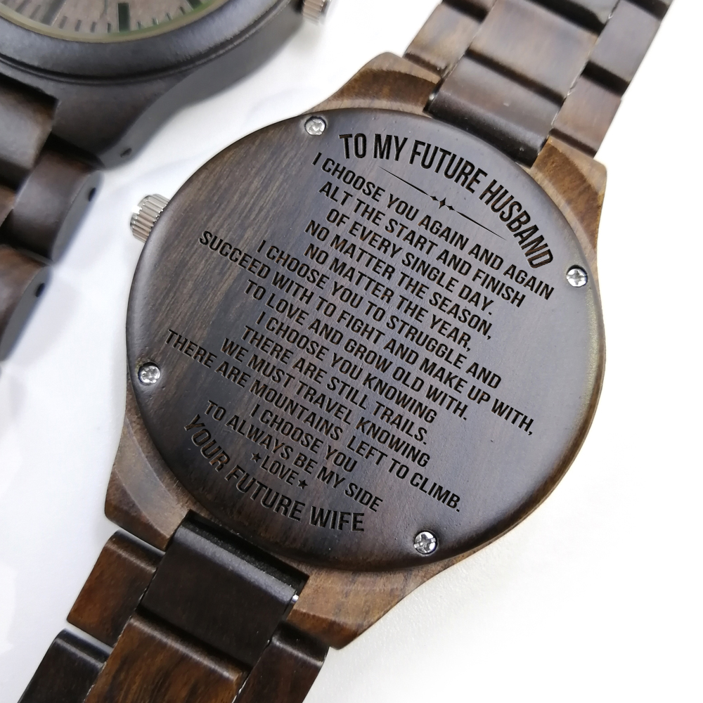 To My Fiance-Engraved Wooden Watch Being Together Gives Me Life'S Best Views Japan Automatic Quartz Watches Wrist Wood Men Watch