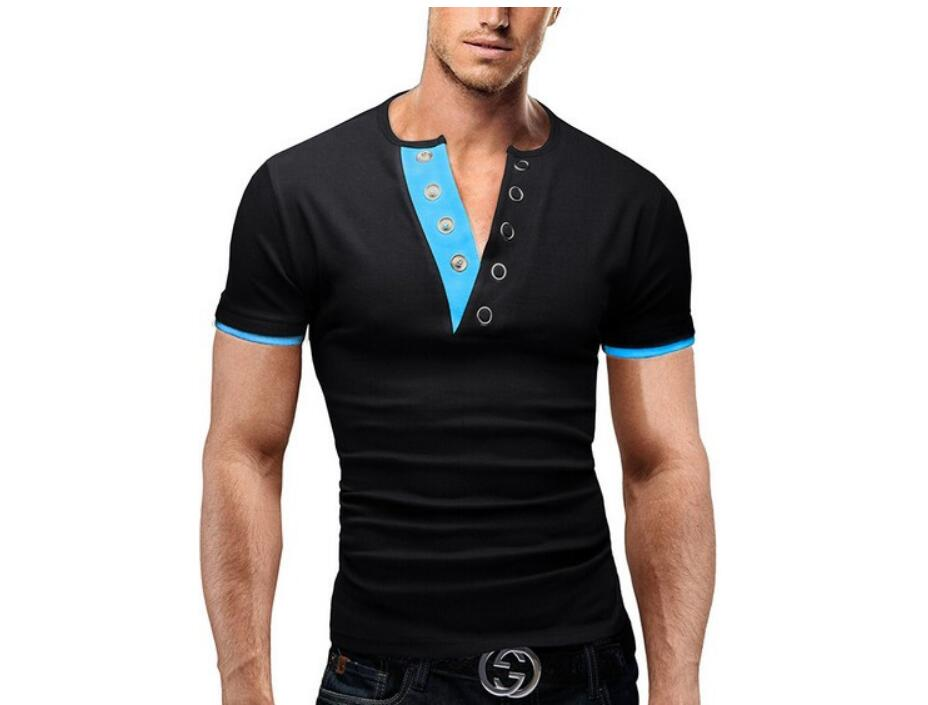 Men'S T Shirt 17 Summer Fashion V-Neck Short-Sleeved Tees Male Camisa Masculina T-Shirt Slim Male Tops XXL 6 colors 2