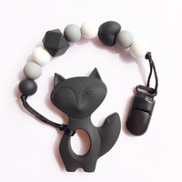 Bpa Silicone Baby Teething Pendant Clips Silicone Teething Pacifier Clip With Fox Pendant Heart Chew Beads