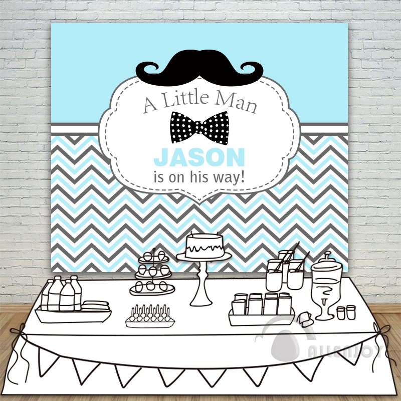 ФОТО Birthday backdrops Baby Shower Background white blue striped twill Moustache little man Party Invitation celebration Allenjoy