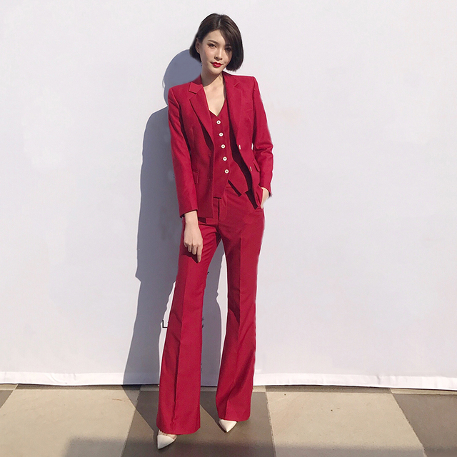 Women Casual Fashion Red 3 Pieces Set Spring Autumn Blazer Coat + Vest + Flare Long Pants Sets for Office Lady Work Y218