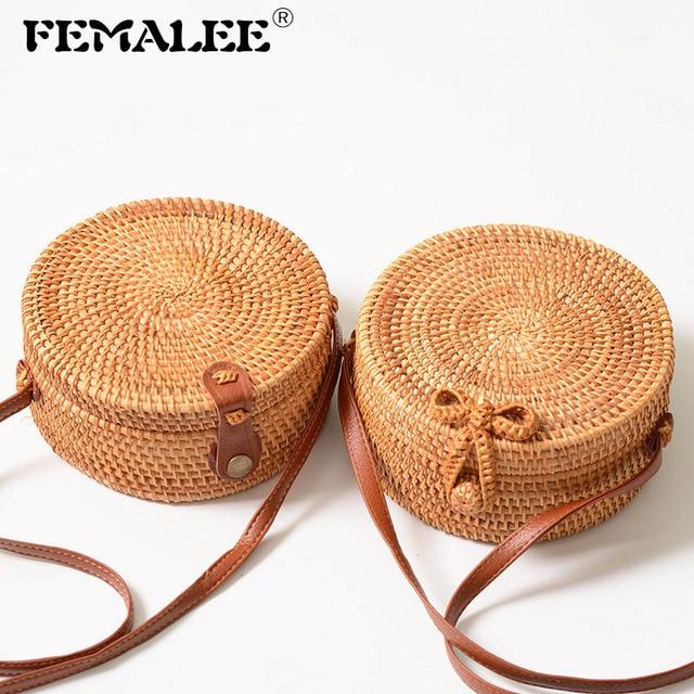 FEMALEE Circular Casual Rattan Bag 2019 Ins Summer Purse Handmade Bali Beach Shoulder Bow Bags Woven Bohemian Handbag Sac A Main