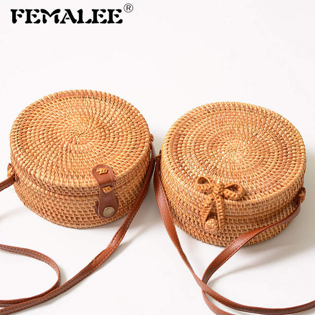 Femalee Circular Casual Rattan Bag 2019 Ins Summer Purse Handmade Bali Beach Shoulder Bow Bags Woven Bohemian Handbag Sac A Main