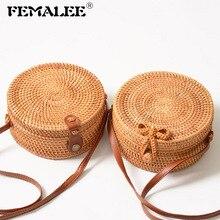 FEMALEE Circular Casual Rattan Bag 2019 Ins Summer Purse Han
