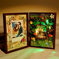1PCS #1 Forest Totoro DIY Miniature Dollhouse Kits LED Doll House Photo Frame Toys For Birthday Gift